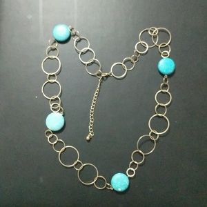 Gold Tone Loop Faux Turquoise Bead Necklace